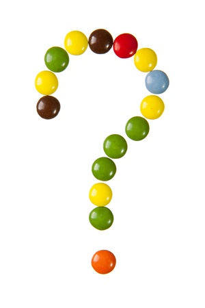 Question mark made of candies against a white background Stock Photo - 20413204