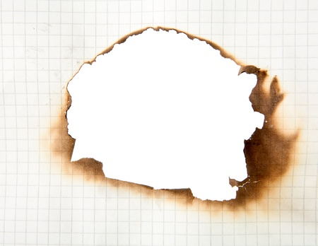 Frame of burnt out hole in a piece of paper photo