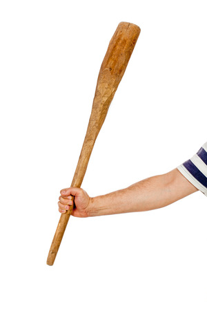 a cudgel: Hand in a striped shirt holding a wooden cudgel