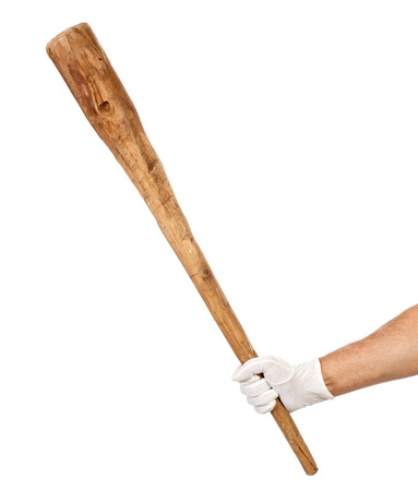 a cudgel: Man hand in white glove holding a wooden cudgel  Soft power concept
