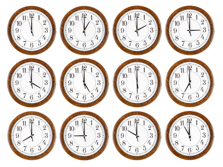 Set of wall clocks with brown wooden frame isolated  Фото со стока