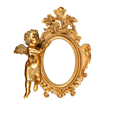 Golden Vintage Oval Picture Frame With Angel Stock Photo, Picture ...