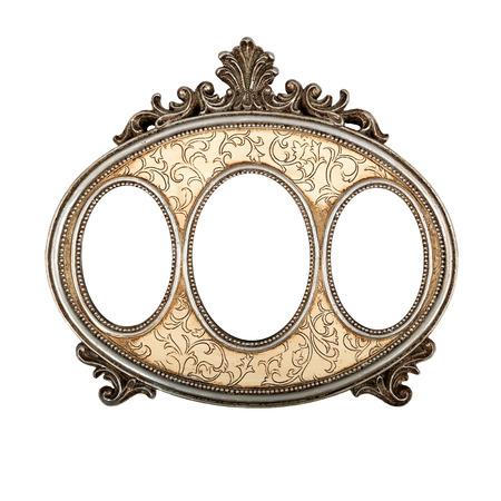 Ornate vintage triple picture frame