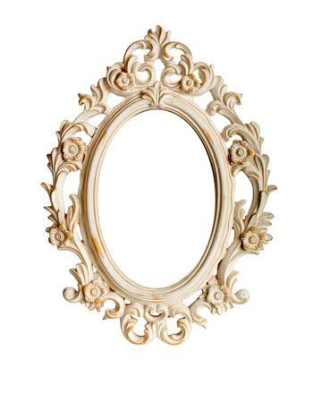 baroque picture frame: Oval ornate vintage frame isolated over white background