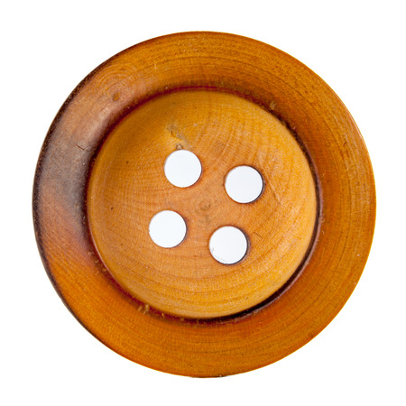 Old wooden button isolated on white Stock Photo