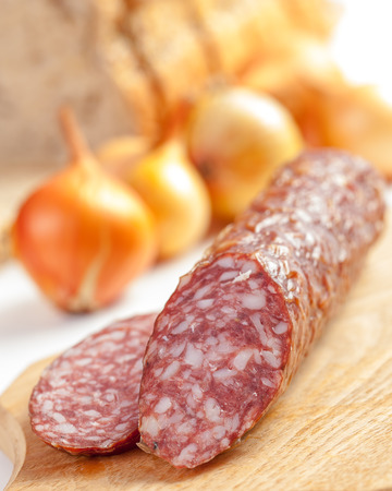 Salami sausage and onions with bread in background. Shallow depth of field photo