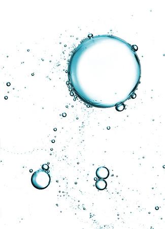 Zeep schuim bubbels over wit Stockfoto