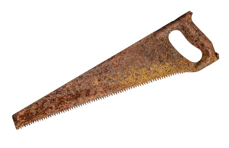 Rusty old saw isolated on white background photo