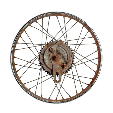 spoked: Dirty old rusty spoked motorcycle rim