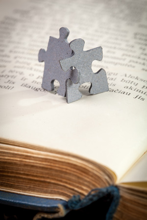 closeup of two jigsaw puzzle pieces on a page of opened book photo
