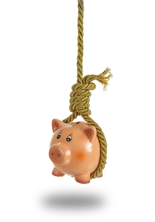 Concept of bankruptcy: golden rope holding piggy bank in hangman noose over white background photo