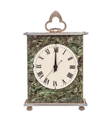 mantel: Twelve oclock on isolated mantel clock on white background Stock Photo