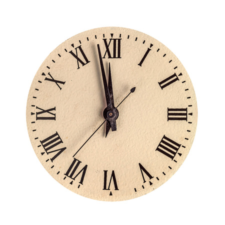 two face: Vintage clock face showing two minutes to twelve isolated over white