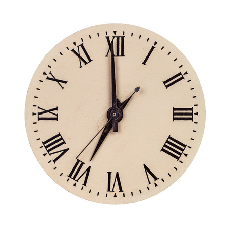 seven o'clock: Vintage clock face showing seven oclock isolated over white