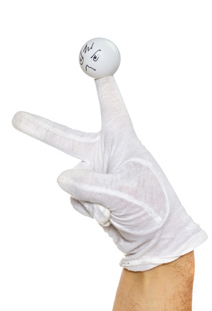 glove puppet: Angry finger puppet showing direction