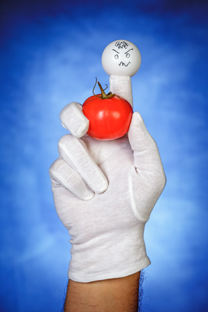 glove puppet: Angry finger puppet holding tomato fruit over blue background Stock Photo