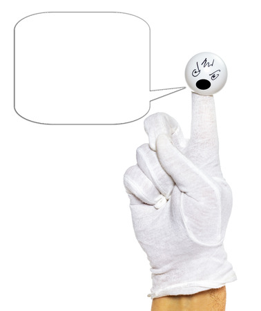 glove puppet: Hand in white glove with angry finger puppet with speech bubble over white background