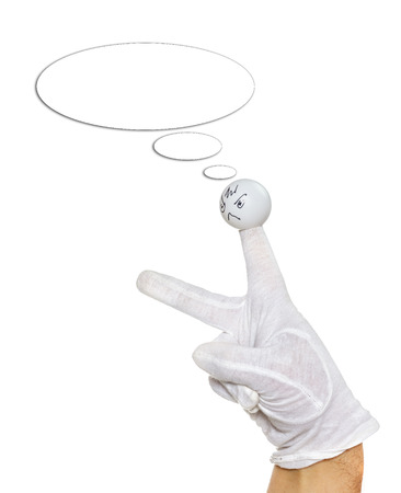 glove puppet: Angry finger puppet with speech bubble isolated over white