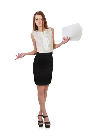 Young woman in black skirt and white shirt holding lists of paper isolated over white background photo