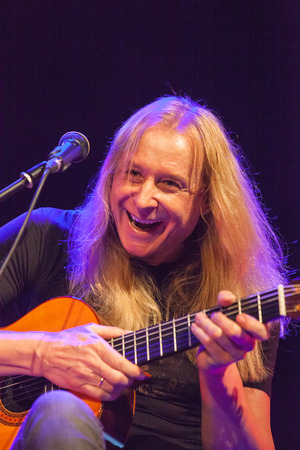 kaunas: KAUNAS, LITHUANIA - APRIL 24, 2015: Guitarist, composer and vocalist Heinz Affolter performs at Kaunas Jazz festival stage with band Affolters ACOUSTIC ADVENTURE. Editorial