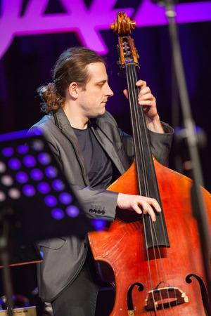 bass player: KAUNAS, LITHUANIA - APRIL 24, 2015: Polish double bass player Pawel Panta performs at the stage of Kaunas Jazz festival as a member of Wlodek Pawlik Project.