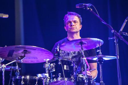 kaunas: KAUNAS, LITHUANIA - APRIL 24, 2015: Polish drummer and composer Cezary Konrad performs at the stage of Kaunas Jazz festival as a member of Wlodek Pawlik Project.