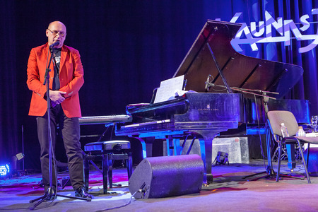 kaunas: KAUNAS, LITHUANIA - APRIL 24, 2015: Wlodek Pawlik the 56th GRAMMY Awards winner performs at the stage of Kaunas Jazz festival.