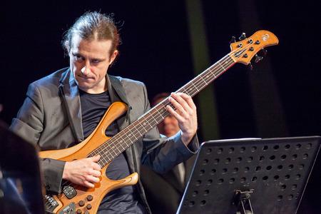 bass player: KAUNAS, LITHUANIA - APRIL 24, 2015: Polish electric bass player Pawel Panta performs at the stage of \\\\\\\\\\\\\\\Kaunas Jazz\\\\\\\\\\\\\\\ festival as a member of Wlodek Pawlik Project.
