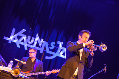 kaunas: KAUNAS, LITHUANIA - APRIL 25, 2015:  Till Bronner Quintet performs at the stage of Kaunas Jazz festival.Till Bronner trumpet, Christian von Kaphengst bass