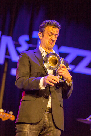 kaunas: KAUNAS, LITHUANIA - APRIL 25, 2015: German jazz musician Till Broner nominated for a Grammy Award in 2008 and 2009 performs at the stage of Kaunas Jazz festival.