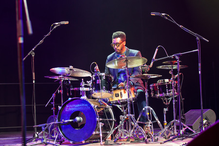 kaunas: KAUNAS, LITHUANIA - APRIL 26, 2015: Jazz drummer Emanuel Harrold performs at the stage of Kaunas Jazz festival.