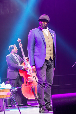 bass player: KAUNAS LITHUANIA  APRIL 26 2015: Grammy winner jazz singer Gregory Porter and bass player Aaron James perform at the stage of Editorial
