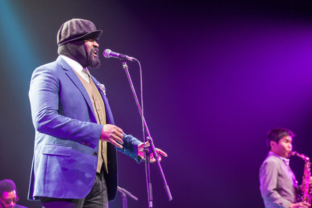 kaunas: KAUNAS, LITHUANIA - APRIL 26, 2015: Grammy winner jazz singer Gregory Porter performs at the stage of Kaunas Jazz festival.