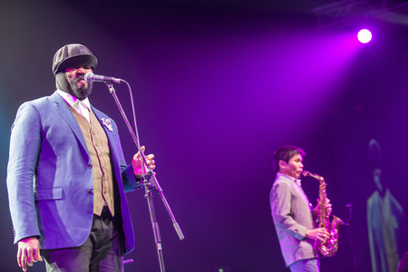 grammy: KAUNAS, LITHUANIA - APRIL 26, 2015: Grammy winner jazz singer Gregory Porter and musician Yosuke Sato performs at the stage of Kaunas Jazz festival.