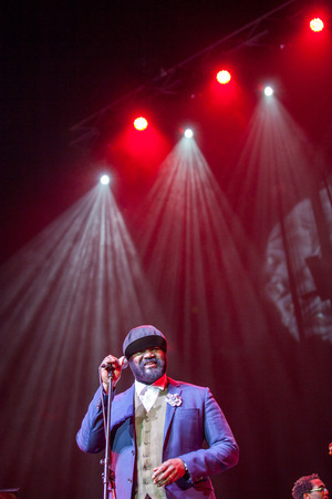 grammy: KAUNAS, LITHUANIA - APRIL 26, 2015: Grammy winner jazz singer Gregory Porter performs at the stage of Kaunas Jazz festival.