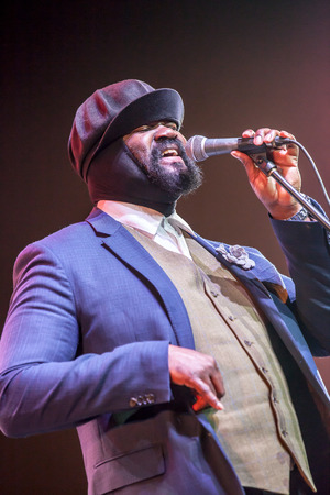 grammy: KAUNAS, LITHUANIA - APRIL 26, 2015:Grammy winner jazz singer Gregory Porter performs at the stage of Kaunas Jazz festival. Editorial