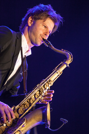 quintet: KAUNAS, LITHUANIA - APRIL 25, 2015: Swedish jazz musician Magnus Lindgren performs at the stage of Kaunas Jazz festival as a member of  TILL BRONNER QUINTET.