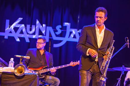 quintet: KAUNAS, LITHUANIA - APRIL 25, 2015:  Till Bronner Quintet performs at the stage of Kaunas Jazz festival.Till Bronner trumpet, Christian von Kaphengst bass