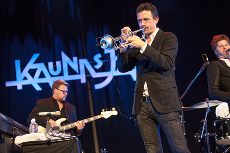 quintet: KAUNAS, LITHUANIA - APRIL 25, 2015:  Till Bronner Quintet performs at the stage of Kaunas Jazz festival.