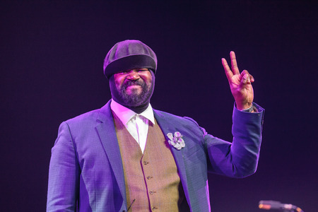 kaunas: KAUNAS, LITHUANIA - APRIL 26, 2015:Grammy winner jazz singer Gregory Porter performs at the stage of Kaunas Jazz festival. Editorial