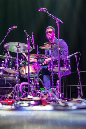 jazz modern: KAUNAS, LITHUANIA - APRIL 26, 2015: Jazz drummer Emanuel Harrold performs at the stage of Kaunas Jazz festival.