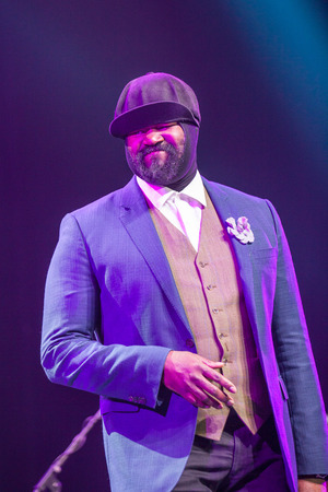 kaunas: KAUNAS, LITHUANIA - APRIL 26, 2015: Grammy winner jazz singer Gregory Porter performs at the stage of Kaunas Jazz festival.