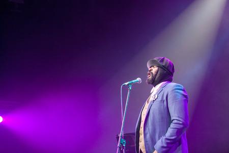 jazz singer: KAUNAS, LITHUANIA - APRIL 26, 2015: Grammy winner jazz singer Gregory Porter performs at the stage of Kaunas Jazz festival.