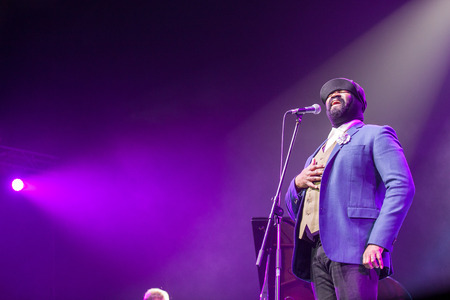 grammy: KAUNAS, LITHUANIA - APRIL 26, 2015: Grammy winner jazz singer Gregory Porter performs at the stage of Kaunas Jazz festival.