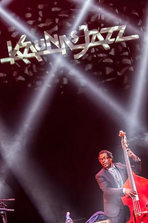 kaunas: KAUNAS, LITHUANIA - APRIL 26, 2015: Jazz musician Aaron James performs at the stage of Kaunas Jazz festival.