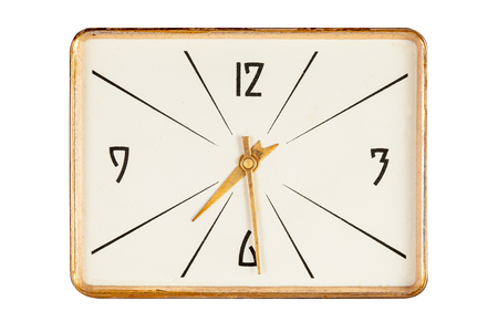 seven o'clock: Vintage rectangle clockface in golden yellow frame showing half past seven oclock isolated over white background