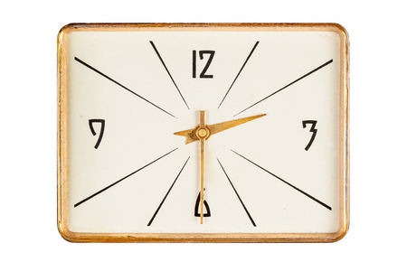 two and a half: Vintage rectangle clockface in golden yellow frame showing half past two oclock isolated over white background