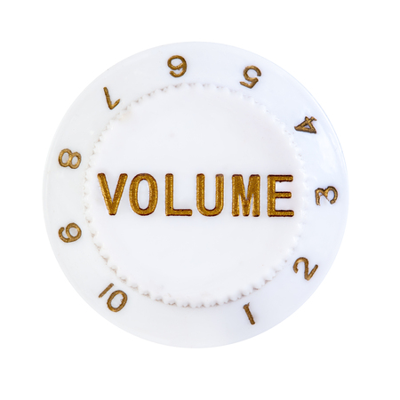 turn dial: Volume control button close up isolated over white background
