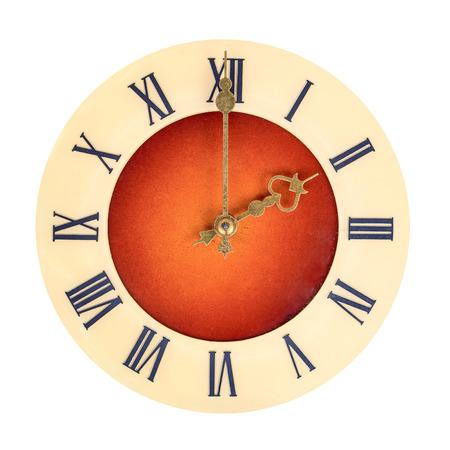 numeros romanos: Cara de reloj con números romanos que muestran dos aislados sobre fondo blanco