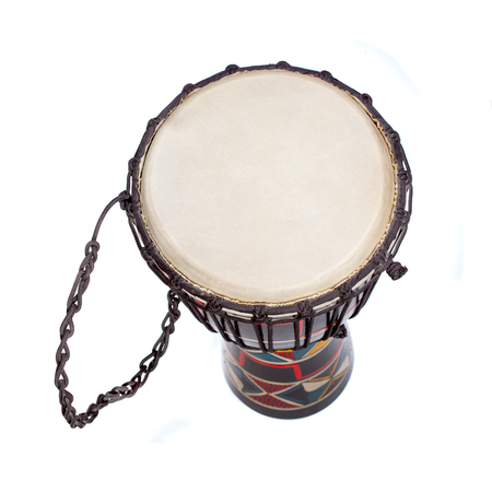 djembe drum: Djembe drum isolated over white. Wiev from top